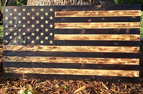 Premium Fully Hand Torched American Wood Flag | USA | Rustic Wall Art | 100% Handmade | 36