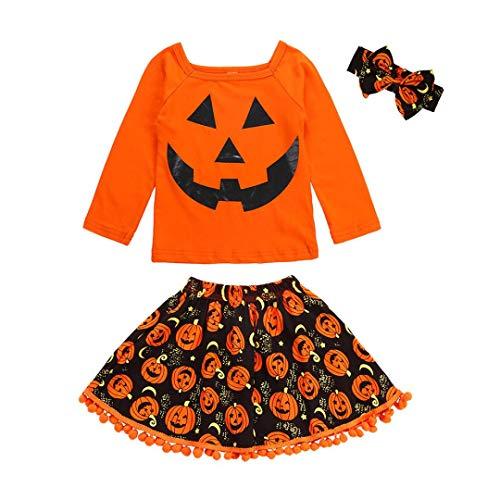 Baby Halloween Clothes,Leegor 3Pcs Toddler Kids Girls Cartoon Tops Skirt Costume Outfits Set -