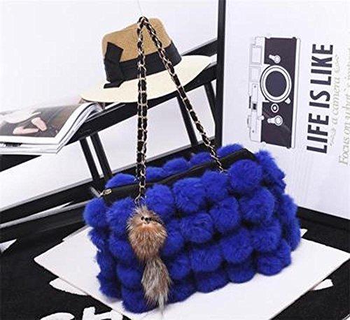 de pelo Blue cien bandolera bolso de 32cmx8cmx22cm vuelta cadena bolso Penao moda piel tamaño señora XT6xn6z