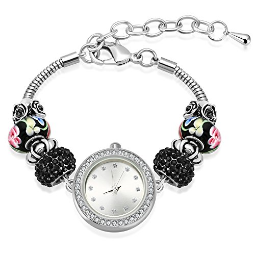MANBARA Women's Black Rhinestone Charm Bracelet Watches
