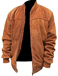Men's Fashion Stylish Suede Real Leather Bomber Jacket