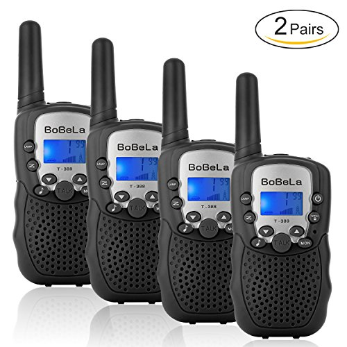 Bobela T388 Best Cool Walkie Talkies as Festival Christmas Gifts for Teens Adults / Twin Way Radio Toys for Kids Hunting / Long Range Walky Talky with Light for Women Cruise Ship ( Black 4 Pack ) (Travel Channel Halloween 2017)