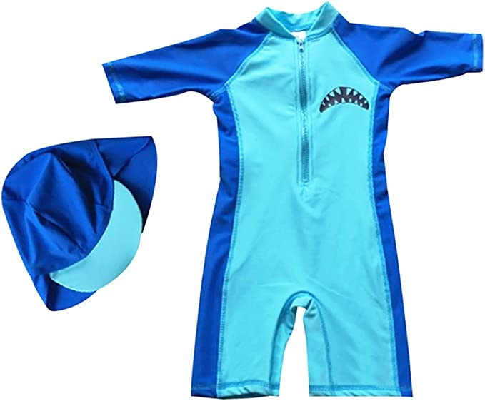 with Cap AMIYAN Boys Two Pieces Rash Guard Swimsuits Kids Baby Short Sleeve Sunsuit Swimwear UPF 50