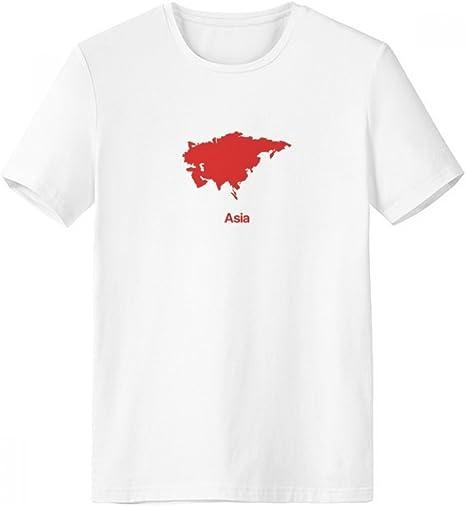 DIYthinker Rojo Ilustración De Asia Mapa De Patrón De Cuello Redondo De La Camiseta Blanca De Manga Corta De La Comodidad Camisetas Deportivas Regalo: Amazon.es: Deportes y aire libre