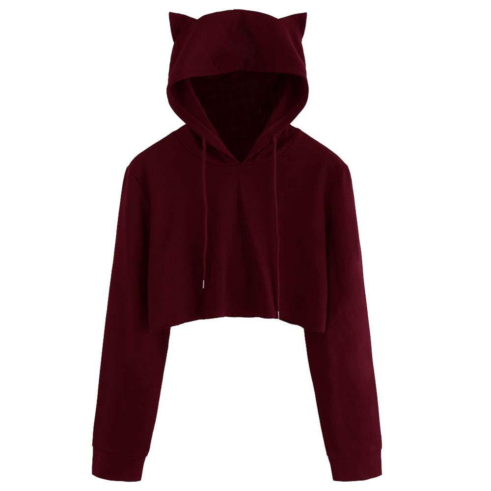 Eduavar Fashion Women Ladies Girls Cat Ear Long Sleeve Hoodie Sweatshirt Hooded Pullover Tops Blouse