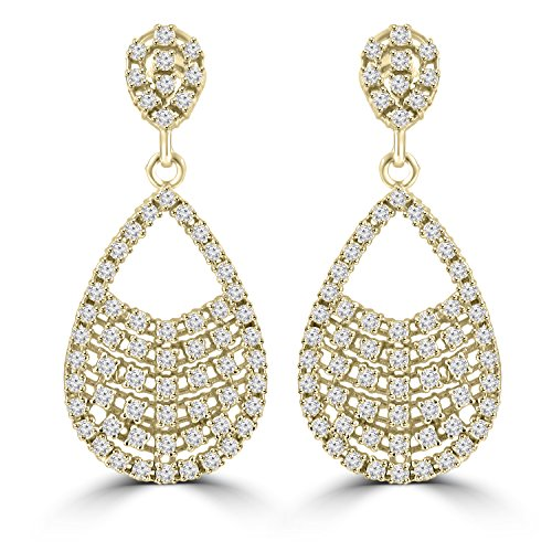 2.08 ct ttw Ladies Round Cut Diamond Drop Dangling Earrings (G Color SI-1 Clarity) In 14 Kt Yellow Gold