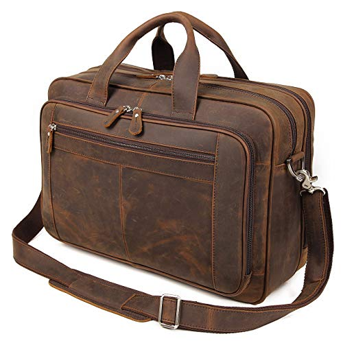 Augus Business Travel Briefcase Genuine Leather Duffel Bags for Men Laptop Bag fits 15.6 inches Laptop (Dark brown) by Augus (Image #1)