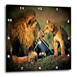 3dRose dpp_17303_2 Lions Father and Son-Wall Clock, 13 by 13-Inch