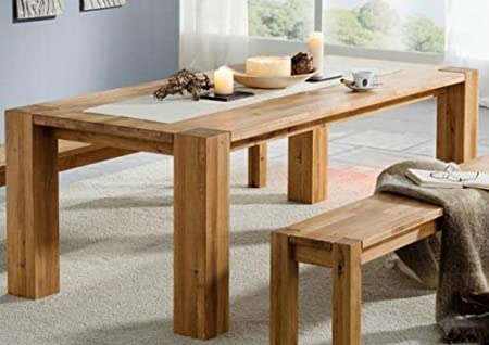 Main Mobel Bremen 200x100 Cm Solid Wild Oak Dining Table Amazon Co