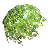 Remedios Automatic Open Transparent Clear Leaf Bubble Dome Rain Umbrella Green