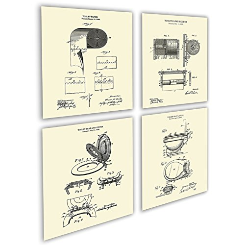 Gnosis Picture Archive Bathroom Art set of 4 Unframed Art Prints Toilet Paper Roll Holder Toilet Seat - Archive Toilet