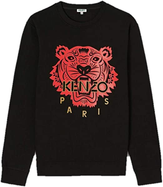 Kenzo Sweat Tiger Pull Noir Homme Tigre Rouge