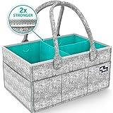 Baby Diaper Caddy Organizer - Portable Large diaper caddy tote - Car Travel Bag - Nursery diaper caddy Storage Bin - Gray Felt Basket Infant Girl Boy - Cute Gift for Kids - Newborn Registry Must Have