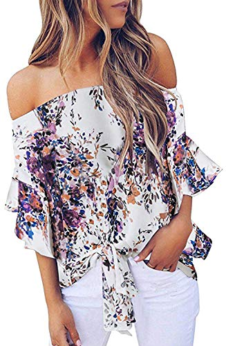 Strapless Tops for Women Bell Sleeve Floral Print Tie Knot Front Casual Chiffon Blouse Tops Purple XL