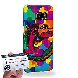 Case88 [Samsung Galaxy S7 Edge] 3D impresa Carcasa/Funda dura para & Tarjeta de garantía - Art Drawing Lernaean Hydra Dragon Kawaii Abstract Animals