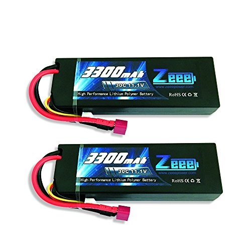 Zeee 3S Lipo Battery 11.1V 30C 3300mAh Hard Case RC Car Lipo Batteries Pack with Deans Style Connector for RC Traxxas Cars Boat Truck Buggy Truggy(2 Pack) (Style Battery Lipo)