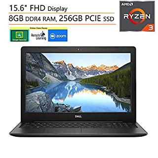 "Dell Inspiron 15 3000 15.6"" FHD Laptop Computer, AMD Ryzen 3 2200U (Beat i5-7200U), 8GB DDR4, 256GB PCIe SSD, Microphone, Webcam, Online Class Ready, Windows 10, iPuzzle 500GB External Hard Drive"