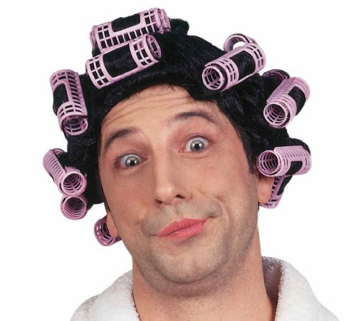 [Forum Novelties Women's Adult Hair In Curlers Costume Wig, Black/Pink, One Size] (Old Grandma Costumes)