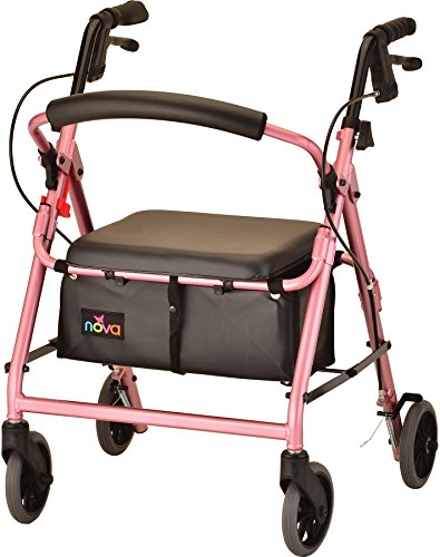 "NOVA GetGo Junior Rollator Walker (Petite Size), Rolling Walker for Height 4'10"" - 5""4"", Seat Height is 18.5"", Color Pink"
