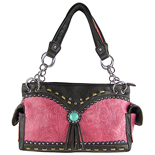 Western Rhinestone Studded Blue Stone Tassel Handbag Hot Pink (Wholesale Coach Inspired Handbags)