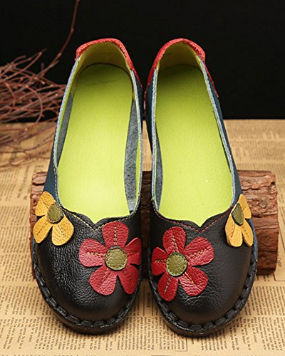 Casual Soft Real Women's Shoes Loafers Flat Comfortable Leather Black Handmade 7Rf6q