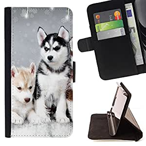 For Apple Iphone 6 Husky Winter Dog Puppy Canine Leather Foilo Wallet Cover Case with Magnetic Closure
