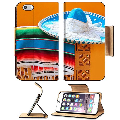 Liili Premium Apple iPhone 6 Plus iPhone 6S Plus Flip Pu Leather Wallet Case IMAGE ID: 9416792 charro mariachi blue mexican hat serape poncho over orange tiles wall