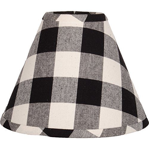 Home Collections by Raghu 16 inch Lamp Shade Buffalo Check Black-Buttermilk Washer