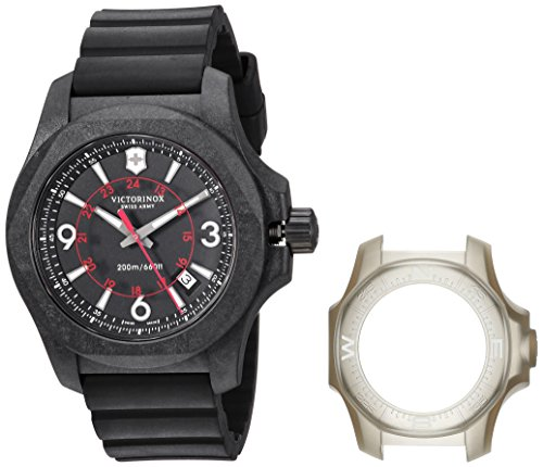 Wrist Titanium Watch Rubber - Victorinox Swiss Army Men's I.N.O.X. Titanium Swiss-Quartz Watch with Rubber Strap, Black, 20 (Model: 241777)