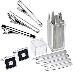 Zysta 45pc Mens Top Quality Metal Collar Stays + Stainless Steel Tie Clip + Cufflinks Set, Exquisite GQ Classic Tie Bar Clip Cuff links