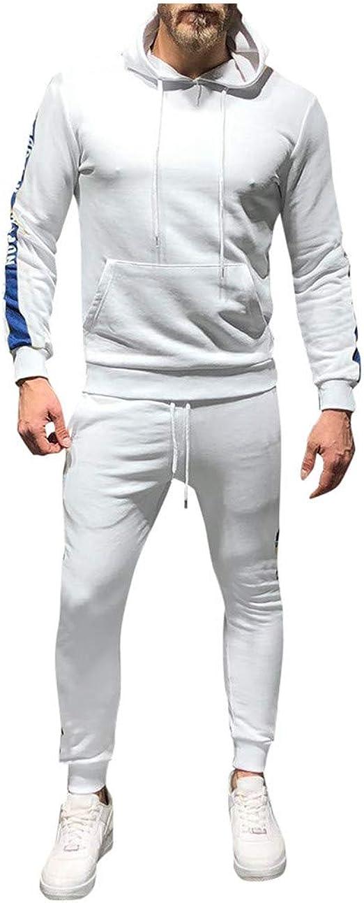 Mens Tracksuit Set Long Sleeve Full Zipper Patchwork Hoodies Sweatshirt Tracksuit Long Sweatpants Warm Sports Suit