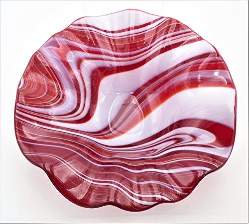 ed and White Swirls with a Ruffled Rim Handcrafted Fused Glass (Handcrafted Fused Glass)