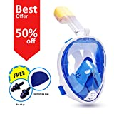 Lanzef 180° Full Face Snorkel Mask with Adjustable Head Straps Anti-fog, Anti Leak Snorkeling Tube with Camera Mount, FREE Swimming Cap and Ear Plugs, Wider Viewing Area (Blue, Adults)
