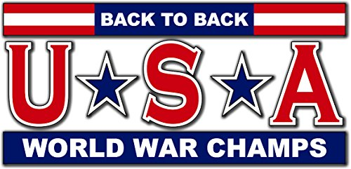MilitaryBest USA - Back to Back World War Champs 3.8 Inch Decal (2 Pack) -