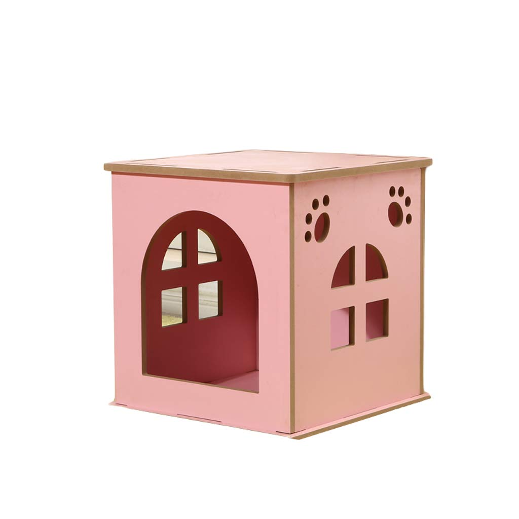 PINK MJIANXIN Pet Nest, Cat Nest, Detachable Dog House, Wooden Waterproof, Three Sizes For Cats, Four Seasons (color   bluee, Size   L)