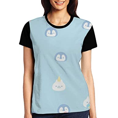 Image Unavailable. Image not available for. Color  RYJHJF Women s Blue Penguin  T Shirt Short ... f9b14ecfb