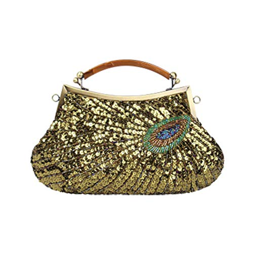 Pattern Dinner Handmade Vintage Optional Handbag Bag Ladies Diagonal Bag Female MineGreen Color Quality Peacock Multi Shoulder Beaded 5rrI8qS