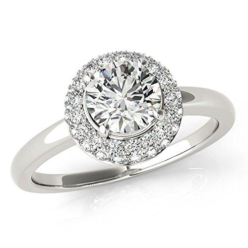 Scintilenora Plain Shank Double Halo Ideal Cut Hearts & Arrows Unique Diamond Engagement Ring 1 2/5 TDW