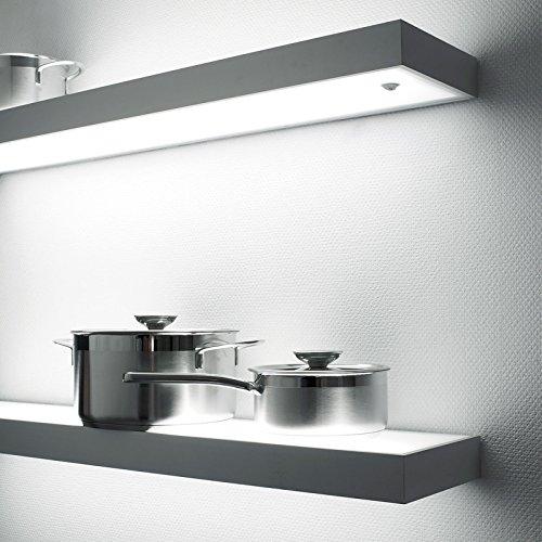 SO-TECH® LED-Leuchtregal Dallas 900 x 200 mm Edelstahloptik inkl. 13 ...