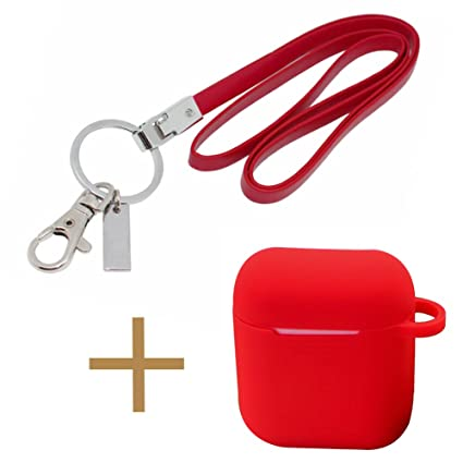 best loved 2fc82 ae1a6 Office Lanyard and AirPod Case Set, Boshiho PU Leather Necklace Lanyard for  ID Badge Holder/Keys/USB; Silicone Case Protective Cover for Apple AirPods  ...