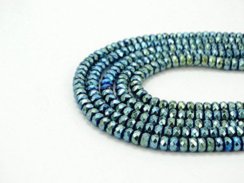 jennysun2010 3x4mm Non-Magnetic Green Hematite Gemstone Rondelle Spacer Beads 15.5'' Inches Faceted 1 Strand for Bracelet Necklace Earrings Jewelry Making Crafts Design Healing