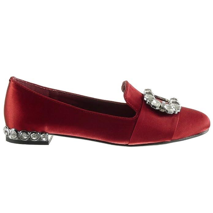 Angkorly - Chaussure Mode Mocassin slip-on femme boucle bijoux clouté Talon bloc 1.5 CM - Rouge - BL216 T 36 gWzye14b