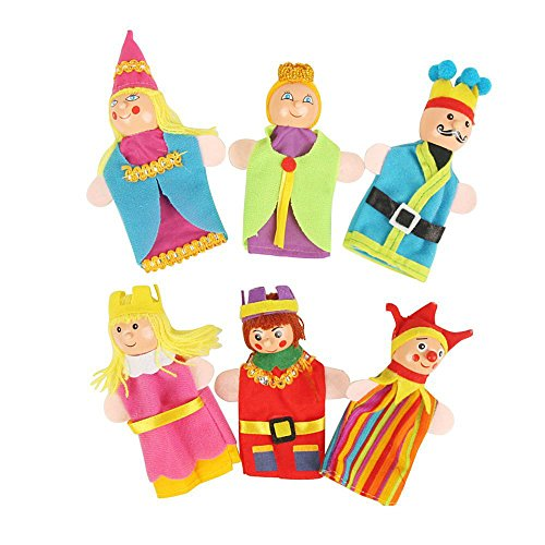 Clown Wizard Princess King Queen Finger Toy Puppets Royal Family Members Hand Puppet Set Educational Toys Best Gift for Kids Set of 6 (Clown)