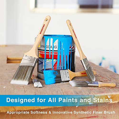 WORKPRO Paint Brushes Set, 5-Piece Professional Flat and Angle Sash Paint Brush with Wood Handle for Walls, Trim, Cabinets, Doors, Fences, Decks, Crafts, and Stains