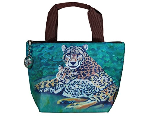 Lunch Bag, Lunch Tote with Matching Zipper Charm - Animals, Full Insulated (Cheetahs - Fleeting - Colorful Cheetah