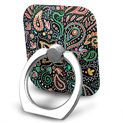 Phone Finger Ring Blacklight Chalkboard Paisley 360 Degree Rotation Foldable Set Compatible with Most of Smartphones Tablet and Case Sold