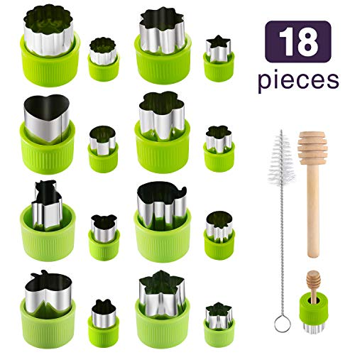 Canape Cutters - Gimars 18 Pcs Large + Mini Fruit & Vegetable & Cookie Cutters Shapes Sets, Stainless Steel Small Cookie Stamp Mold, Sandwich Cutters for Kids Baking, Bento Box and Food Decoration Tools for Kitchen
