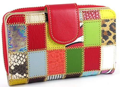 Patchwork Véritable Femme Zipper Handmade Cuir Spain Rouge Patchwork Capacite Portefeuille design Porte monnaie in Grande XX04f67