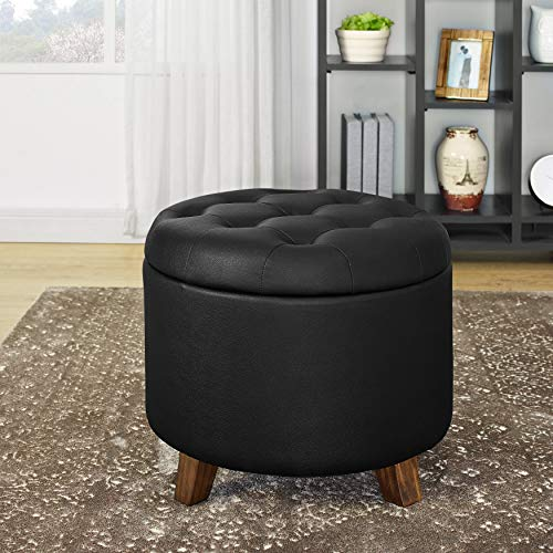 LifeDecor Faux Leather Storage Ottoman Bench Lift Top Button Tufted Footstool Seat with Storage Chest (Black)