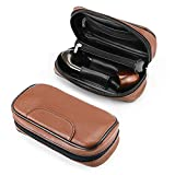 Joyoldelf Tobacco Pipe Bag - Leather Pipe Pouch for 2 Pipes and Other Accessories, with Professional Picadura Bag, Brown